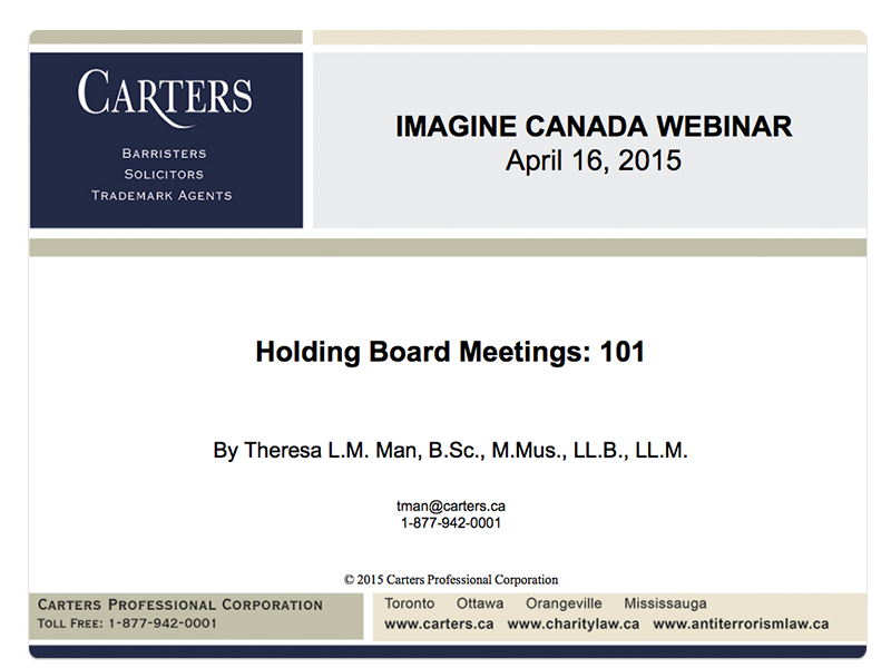 Holding Board Meetings 101 slide