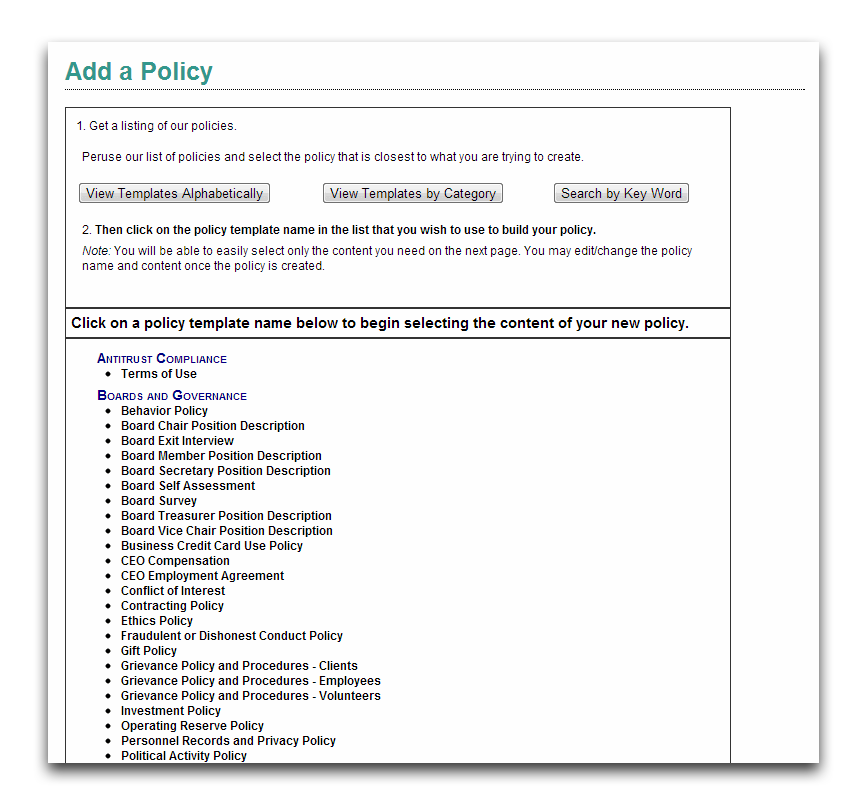 View the tool My Risk Management - Policies | Sector Source